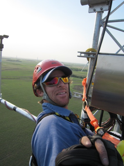 Matt working in the J-Box up tower
